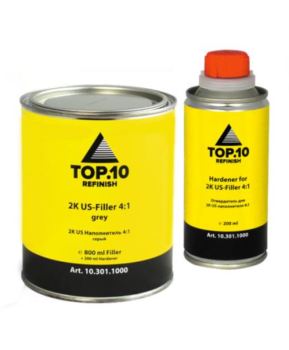 Top10 2K US Акриловый грунт-наполнитель 4:1 серый (0,8л + 0,2л), комплект