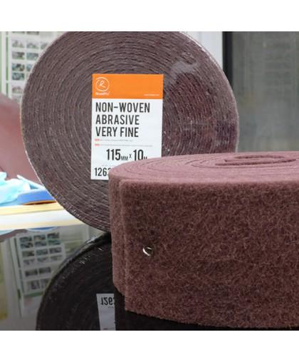 RoxelPro Нетканый абразивный материал 115мм х10м VERY FINE, красный, рулон