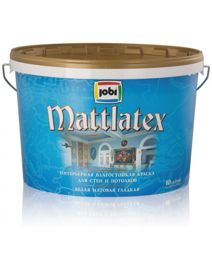 JOBI Краска латексная влагостойкая для стен и потолков (хранение до -30С°) - белая матовая