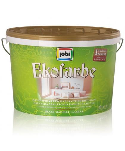 JOBI Краска экологичная влагостойкая акриловая для спален и детских комнат (хранение до -30С°) - белая матовая